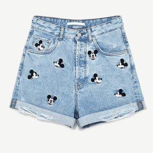 NWOT Mickey Mouse Denim High Waist Shorts